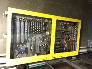 Workstation fully secure tool cabinet with pegboard