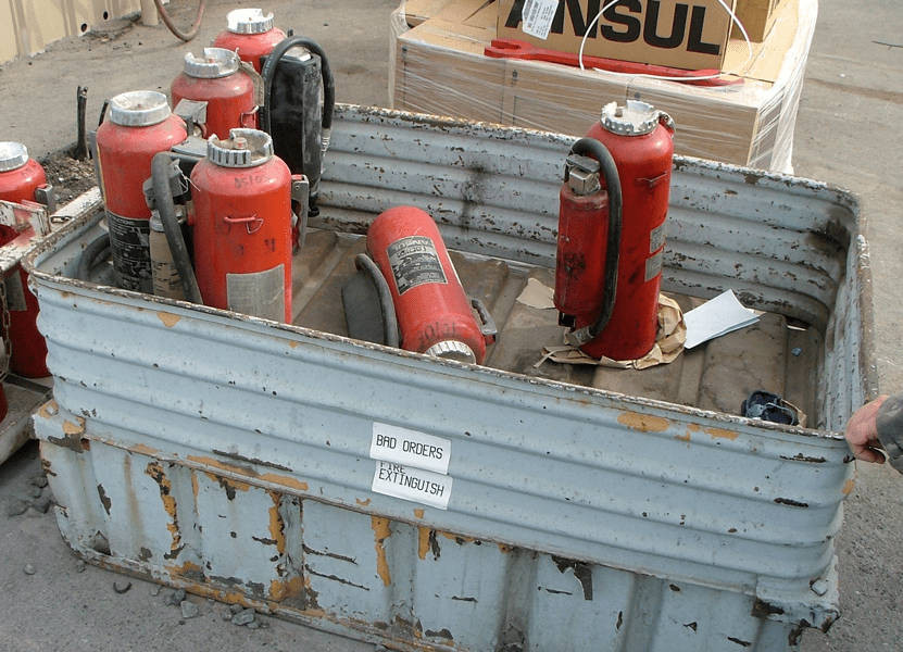 Discharged Bad Order Fire Extinguishers